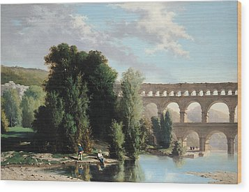 View Of The Pont Du Gard Wood Print by Henri Marie Poinsot