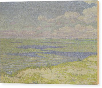 View Of The River Scheldt Wood Print by Theo van Rysselberghe