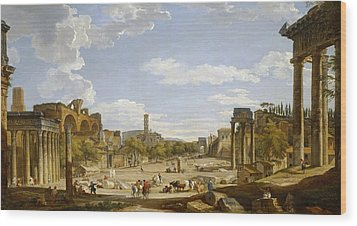 View Of The Roman Forum Wood Print by Giovanni Paolo Panini