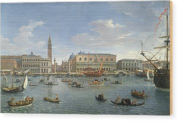 View Of Venice From The Island Of San Giorgio Wood Print by Gaspar van Wittel