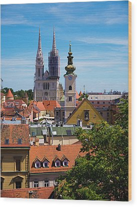 View Of Zagreb Wood Print by Rae Tucker