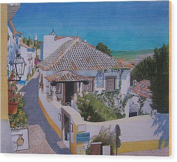 Wood Print featuring the mixed media View On Obidos by Constance Drescher