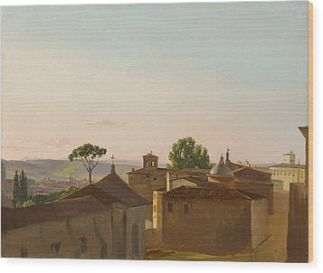 Wood Print featuring the painting View On The Quirinal Hill. Rome by Simon Denis