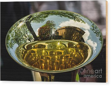 View Through A Sousaphone Wood Print by Kevin Fortier
