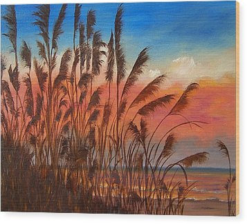 View Thru Seaoats Sold Wood Print by Susan Dehlinger