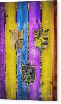Wood Print featuring the photograph View Thru The Fence by Nick Zelinsky