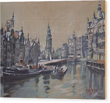 View To The Mint Tower Amsterdam Wood Print by Nop Briex
