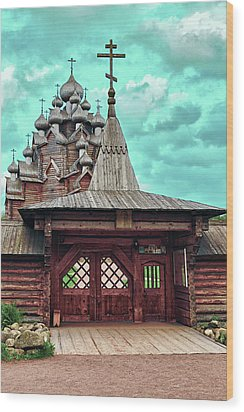 views of Holy gates and Church of the Intercession of the blessed virgin Mary Wood Print
