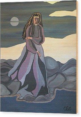 Wood Print featuring the painting Vigil by Carolyn Cable