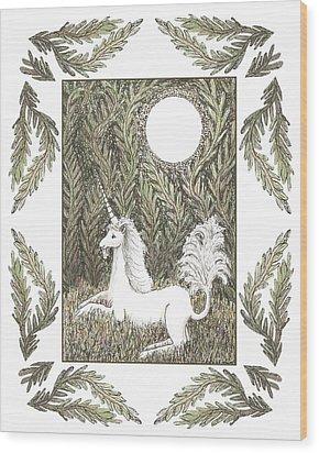 Vigilant Unicorn Wood Print by Lise Winne