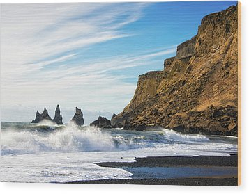 Wood Print featuring the photograph Vik Reynisdrangar Beach And Ocean Iceland by Matthias Hauser