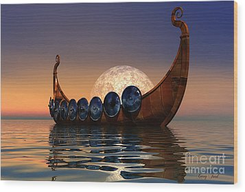 Viking Boat Wood Print by Corey Ford