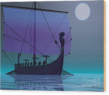 Viking Journey Wood Print by Corey Ford