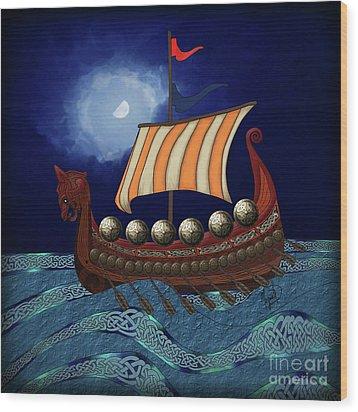 Wood Print featuring the digital art Viking Ship by Megan Dirsa-DuBois