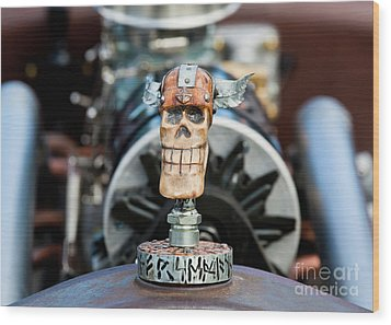 Wood Print featuring the photograph Viking Skull Hood Ornament by Chris Dutton