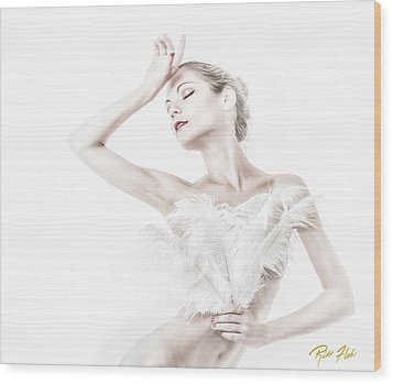 Viktory In White - Feathered Wood Print by Rikk Flohr