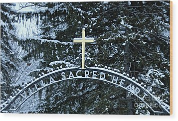 Villa Sacred Heart Winter Retreat Golden Cross Wood Print by John Stephens