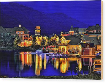 Village At Blue Hour Wood Print