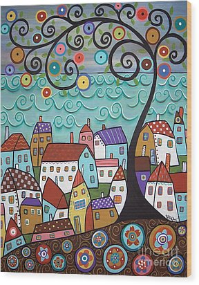 Village By The Sea Wood Print by Karla Gerard