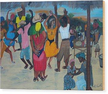 Village Dance Under The Pergola Wood Print by Nicole Jean-louis