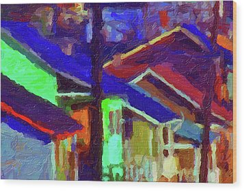 Wood Print featuring the digital art Village Houses by Richard Farrington