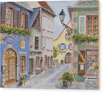 Village In Alsace Wood Print