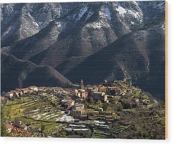 Wood Print featuring the photograph Village Of Utelle by Carl Amoth