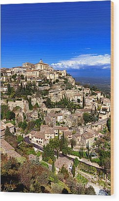 Village Of Gordes In Provence Wood Print by Olivier Le Queinec