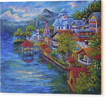 Village On The Lake Wood Print