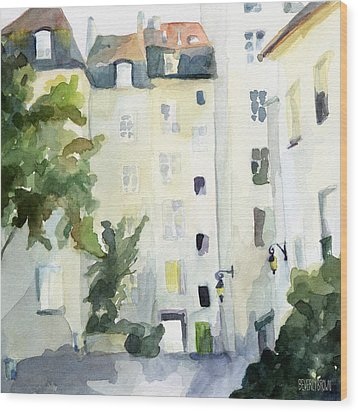 Village Saint Paul Watercolor Painting Of Paris Wood Print