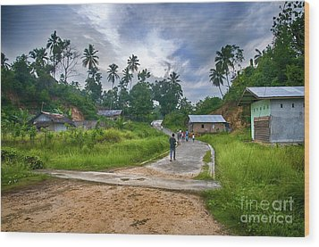 Wood Print featuring the photograph Village Scene by Charuhas Images