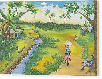 Village Scene Wood Print by Herold Alveras