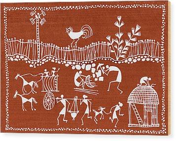 Village Scene In Warli Tribal Art Wood Print by Jey Manokaran