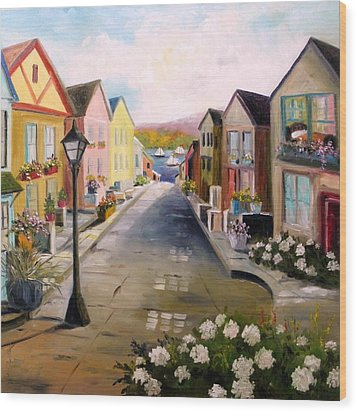 Wood Print featuring the painting Village Street by John Williams