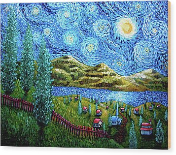 Village Under The Stars Wood Print
