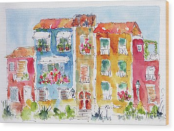 Wood Print featuring the painting Villajoyosa Spain by Pat Katz