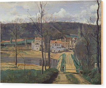 Ville Davray Wood Print by Jean Baptiste Camille Corot