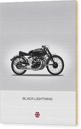 Vincent Black Lightning Wood Print by Mark Rogan