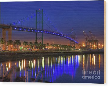 Vincent Thomas Bridge Wood Print by Eddie Yerkish