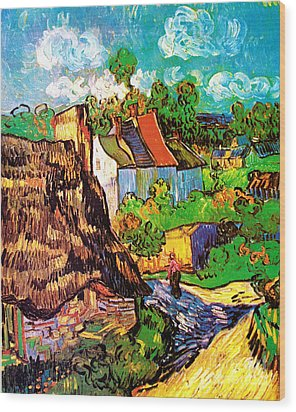 Vincent Van Gogh Houses At Auvers  Wood Print by Pg Reproductions