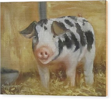 Wood Print featuring the painting Vindicator The Spotted Pig by Cheri Wollenberg