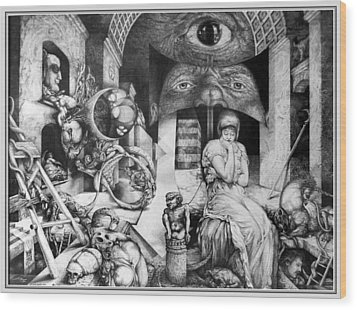 Vindobona Altarpiece IIi - Snakes And Ladders Wood Print by Otto Rapp