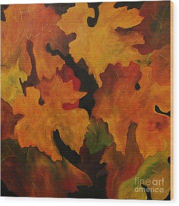 Vine Leaves Wood Print