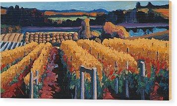 Vineyard Light Wood Print by Christopher Mize
