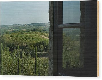 Vineyards Of Chianti Viewed Wood Print by Todd Gipstein