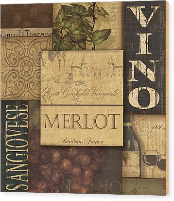 Vino Collage Wood Print by Grace Pullen