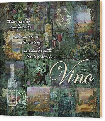 Vino Wood Print by Evie Cook