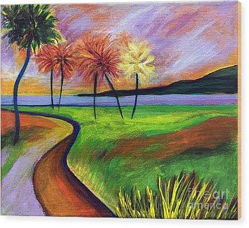 Vinoy Park In Purple Wood Print