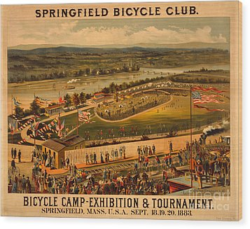 Wood Print featuring the photograph Vintage 1883 Springfield Bicycle Club Poster by John Stephens