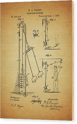 Vintage 1885 Exercising Device Patent Wood Print by Dan Sproul